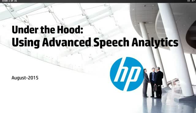Under the Hood: Using Advanced Speech Analytics