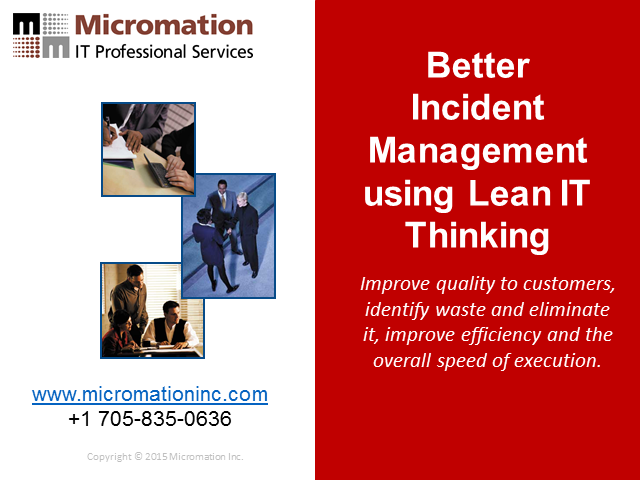 Better Incident Management using Lean IT Thinking