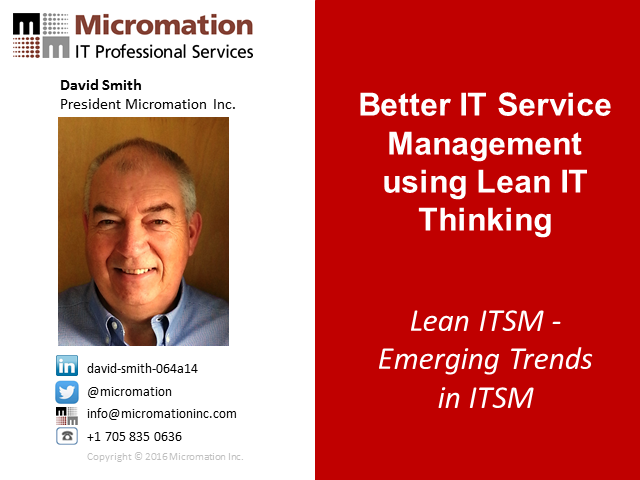 Better IT Service Management using Lean IT Thinking