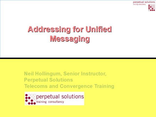 Addressing for Unified Communications