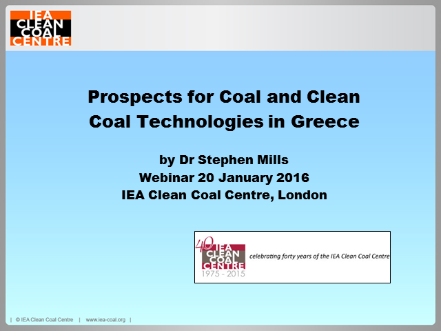 Prospects for coal and clean coal technologies in Greece