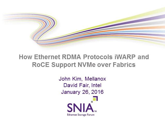 How Ethernet RDMA Protocols iWARP and RoCE Support NVMe over Fabrics