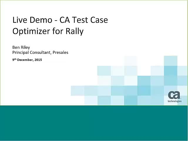 CA Test Case Optimizer for Rally - better requirements, test cases and software