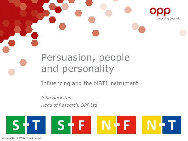 Persuasion, people and personality; influencing and the MBTI instrument