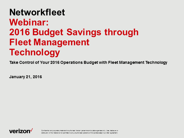 Take Control of Your 2016 Operations Budget with Fleet Management Technology