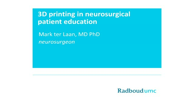 3D Printing as a Patient Education Tool for Surgeons and Med Ed for Patients