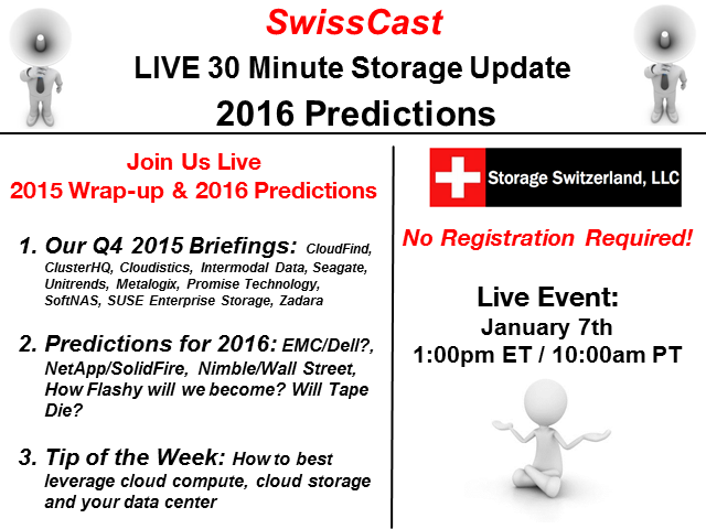 SwissCast - LIVE 30 Minute Storage Update - 2016 Prediction Show