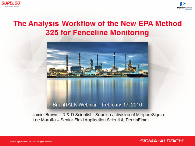 The Analysis Workflow of the New EPA Method 325 for Fenceline Monitoring