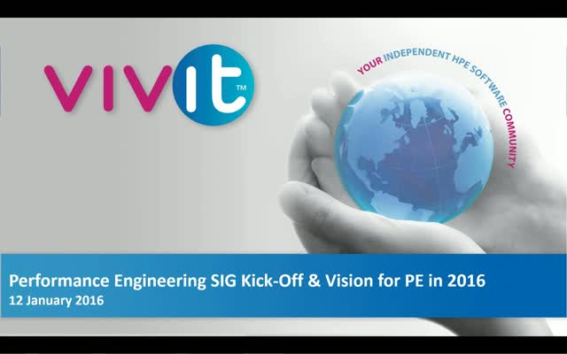 Performance Engineering SIG Kick-Off & Vision for PE in 2016