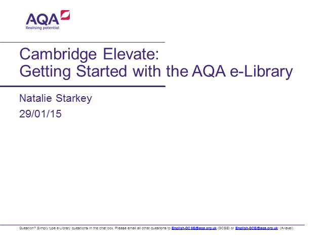 The AQA English e-Library: Getting started for administrators