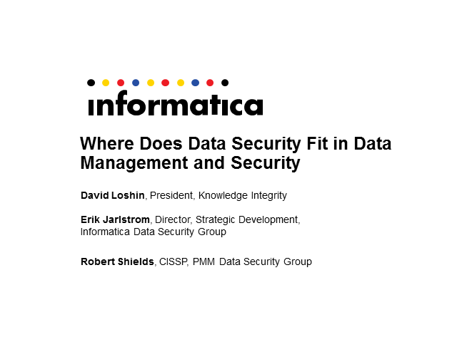 Where Does Data Security Intelligence Fit in Data Management and Security?