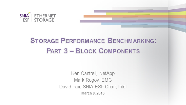 Storage Performance Benchmarking: Block Components