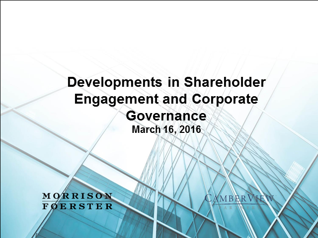 Shareholder engagement and corporate governance developments
