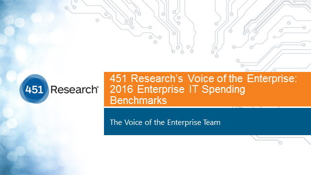 451 Research's 2016 Enterprise IT Spending Benchmarks