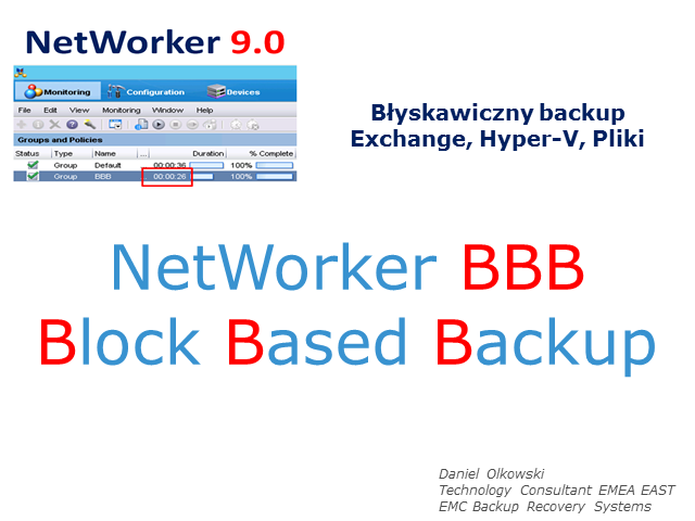 Backup Exchange/HyperV w ciągu minut czyli NetWorker Block Based Backup 9.0
