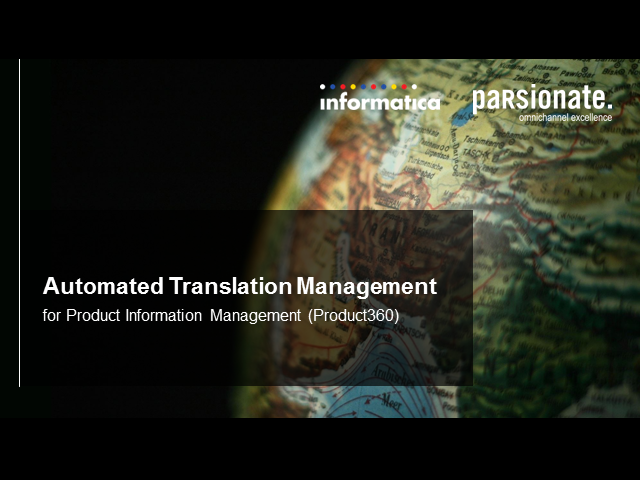 Automated Translation Management for Product Information Management -Product 360