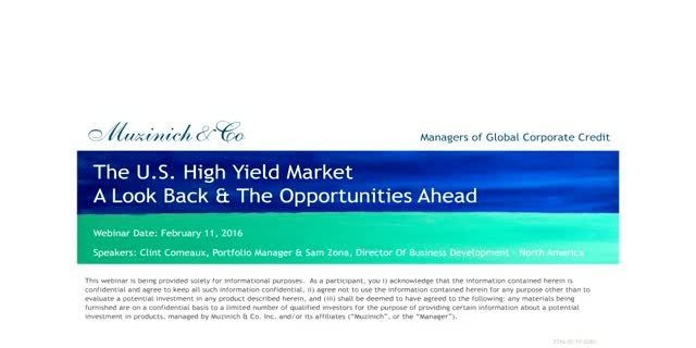 The U.S. High Yield Market: A Look Back & Opportunities Ahead