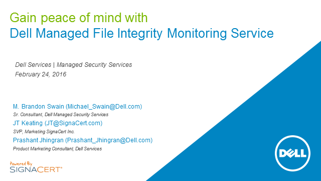 Gain peace of mind with Dell Managed File Integrity Monitoring Service