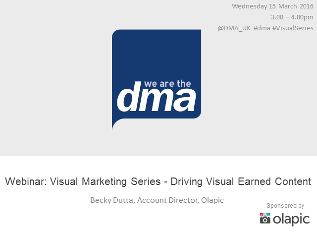Webinar: Visual Marketing Series - Driving Visual Earned Content
