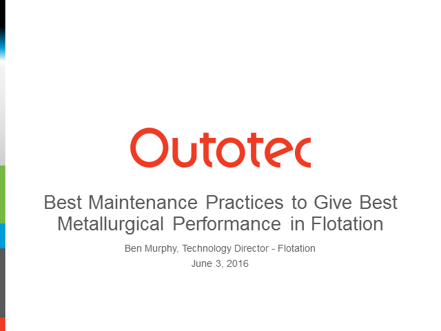 Best maintenance practices to give best metallurgical performance in flotation