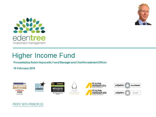 EdenTree Higher Income Fund Update