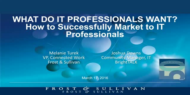 What do IT professionals want? How to successfully market to technologists