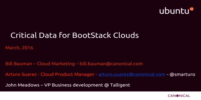 Critical Data for BootStack Clouds