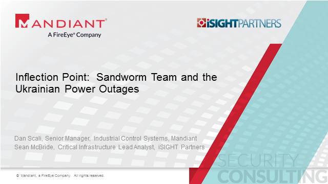 Inflection Point: Sandworm Team and the Ukrainian Power Outages