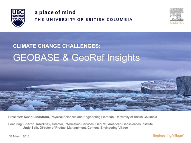 Climate Change Challenges: GEOBASE & GeoRef Insights, UBC