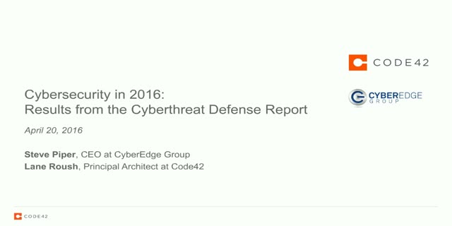 Cybersecurity in 2016: Results from the Cyberthreat Defense Report