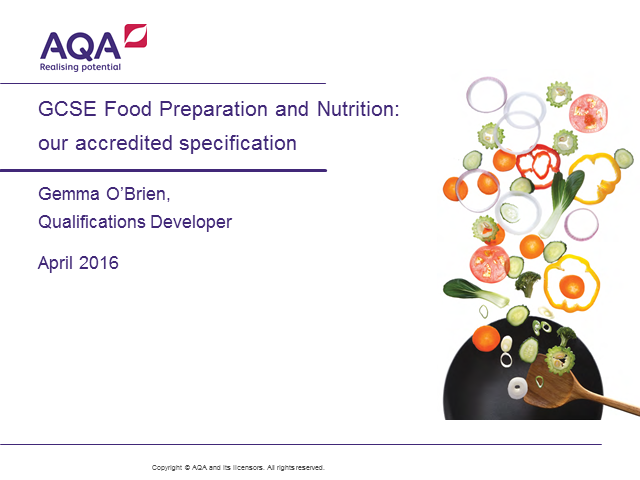 GCSE Food Preparation and Nutrition: our accredited specification