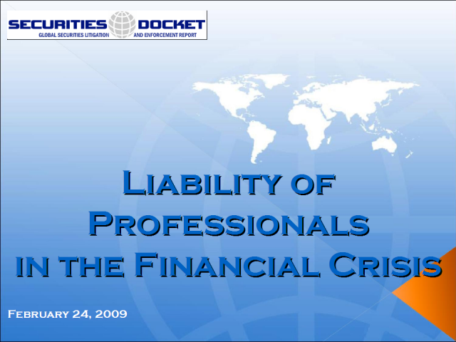 Liability of Professionals in the Financial Crisis