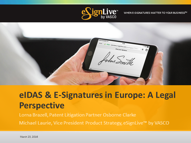 eIDAS and E-Signatures in Europe: A Legal Perspective