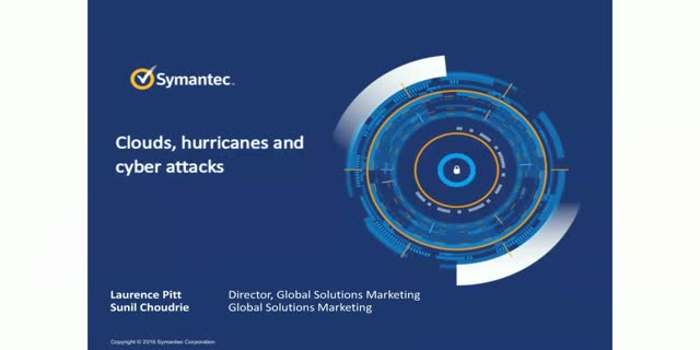 Clouds, hurricanes and cyber-attacks…