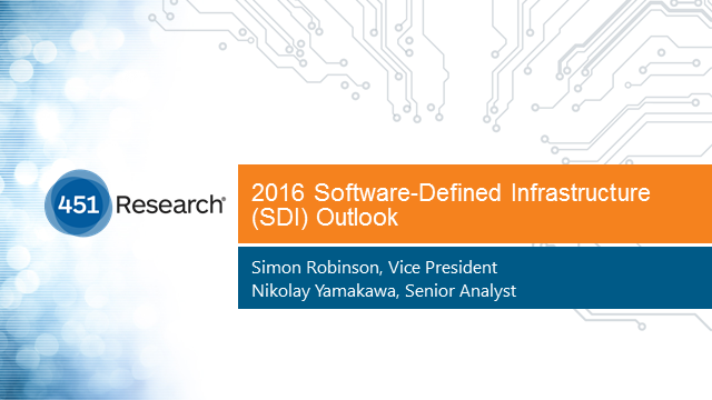 451 Research Presents 2016 Software Defined Infrastructure (SDI) Outlook