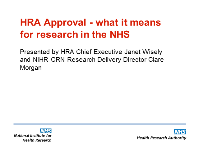 Health Research Authority (HRA) Approval - what it means for research in the NHS