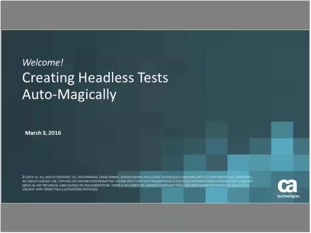 Creating Headless Tests Auto-Magically