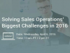 Solving Sales Operations Biggest Challenges in 2016