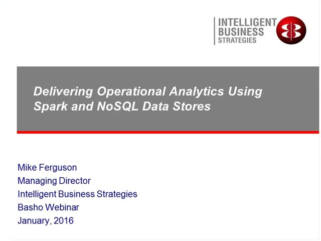 On-Demand Webinar: Operational Analytics Using Spark and NoSQL