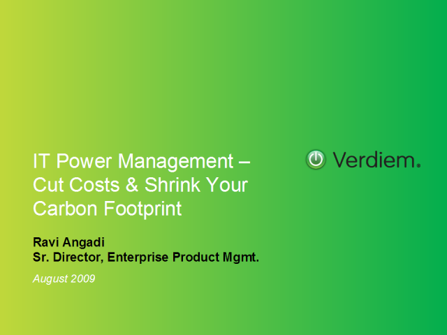 IT Power Management – Cut Costs & Shrink Your Carbon Footprint