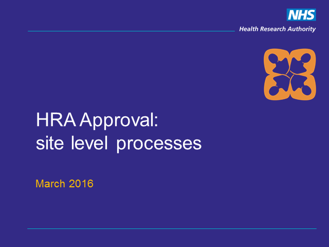 HRA Approval - collaboration between sponsors and sites
