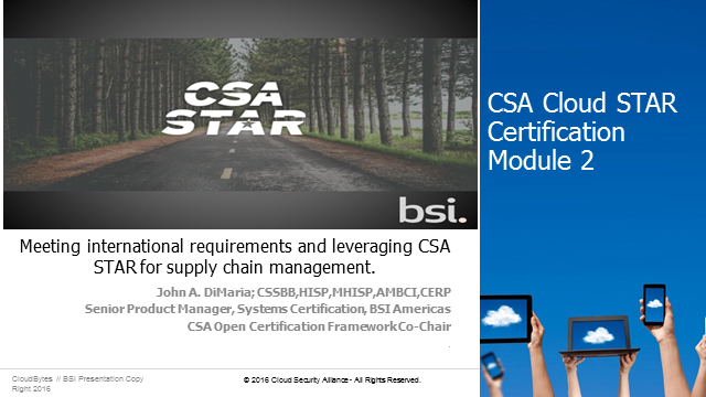 Meeting international requirements and leveraging CSA STAR for supply chain mana