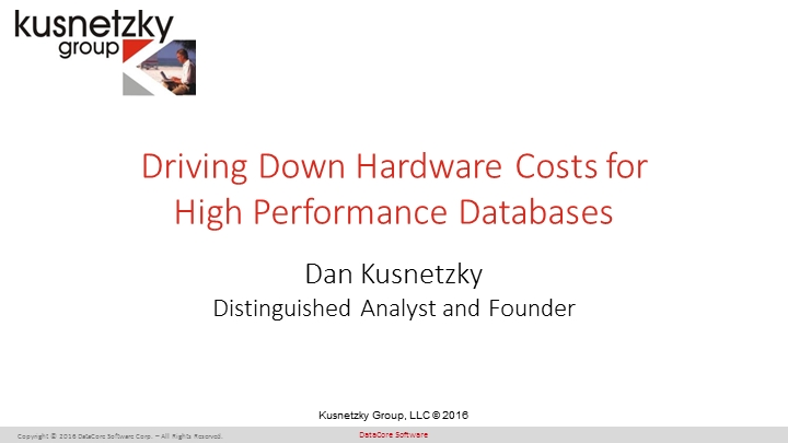 Driving Down Hardware Costs for High Performance Databases