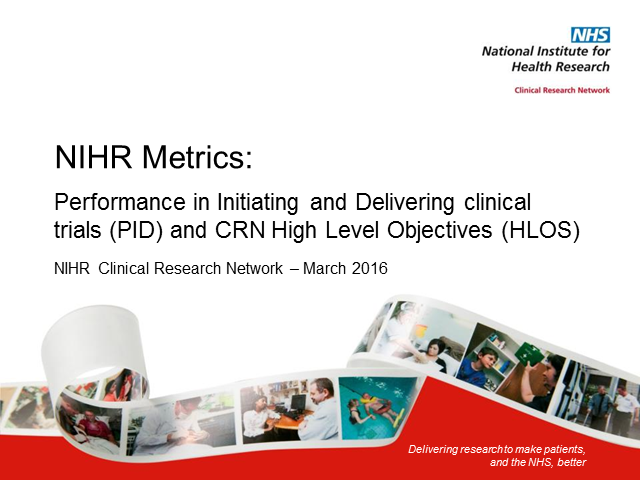 NIHR Metrics (post HRA Approval)