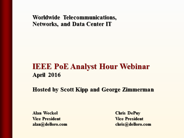 Analyst Hour Webinar on IEEE PoE
