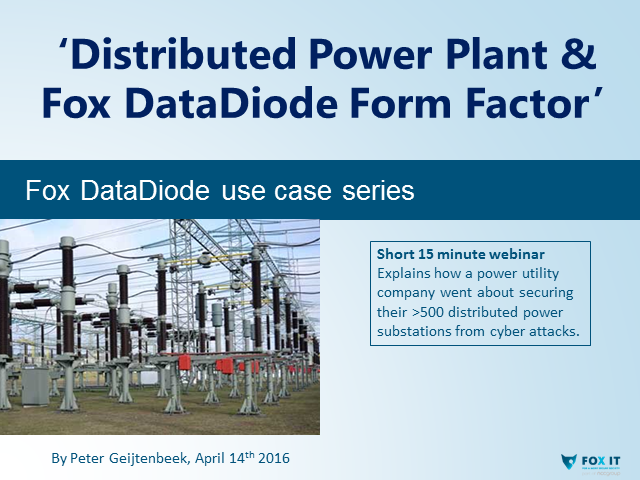 'Distributed Power Plant and Fox DataDiode Form Factor'