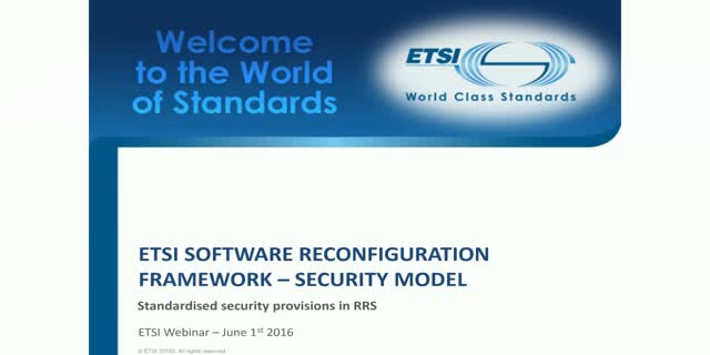 ETSI Software Reconfiguration Framework – Security model