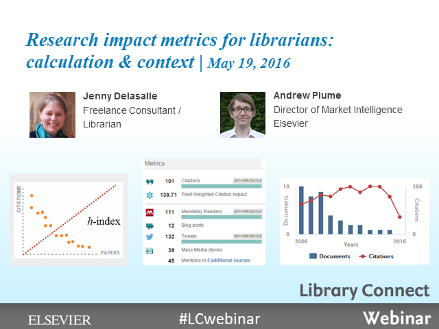 Research impact metrics for librarians: calculation & context