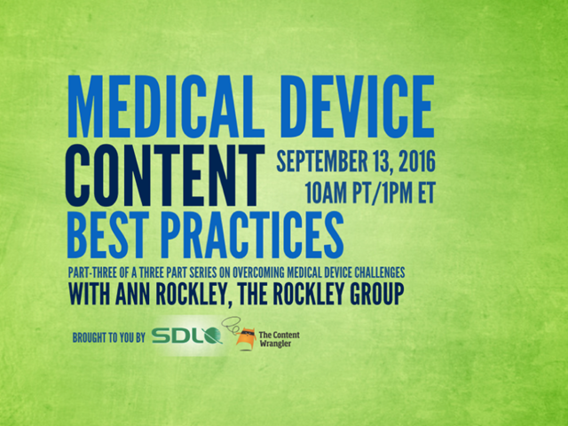 Helping Teams to Adapt to Medical Device Content Best Practices