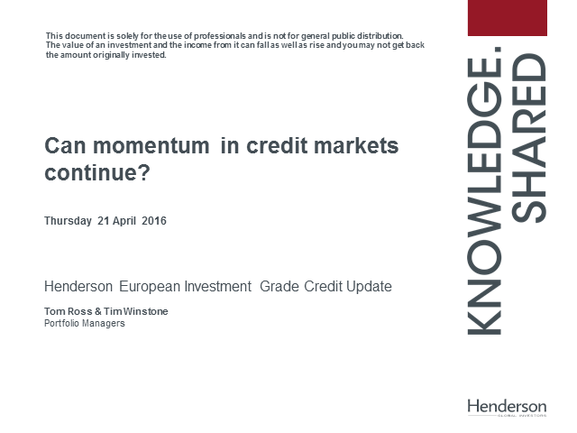 Live Insight: Henderson Euro Corporate Bond Strategy